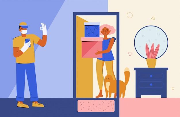 Entrega sem contato segura em casa. courier em uma máscara médica protetora e luvas entrega uma caixa com um pedido para a porta de uma casa. distância segura durante uma quarentena
