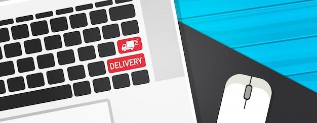 Entrega, tecla, ligado, teclado computador, rapidamente, serviço courier, botão, com, caminhão, símbolo