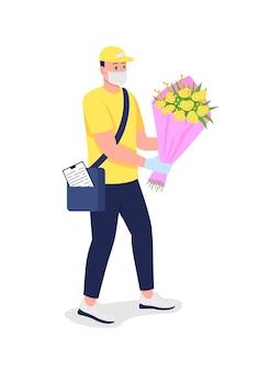 Entregador caucasiano com flores na máscara médica cor lisa personagem detalhado
