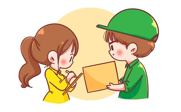 Entregador com caixa de encomendas para cliente mulher