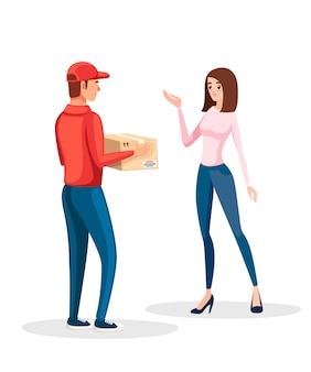 Entregador com caixa e mulher cliente. uniforme de correio vermelho. uma mulher recebe um pacote. ilustração em fundo branco