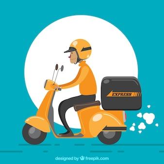 Entregador com capacete e scooter retro