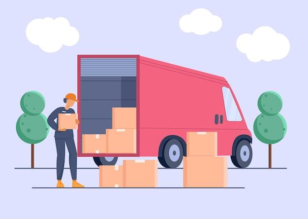 Entregador com cara de entregador segurando um pacote com caminhão de entrega