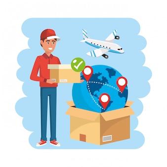 Entregador com distribuição de serviço de caixa