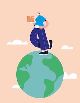 Entregador com máscara facial leva entregas de mercadorias ao redor do mundo