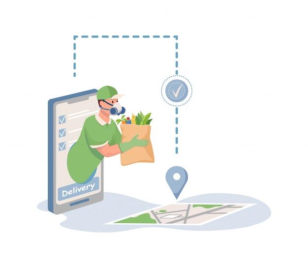 Entregador com máscara respiratória, segurando o saco com ilustração dos desenhos animados plana de comida de mercearia.