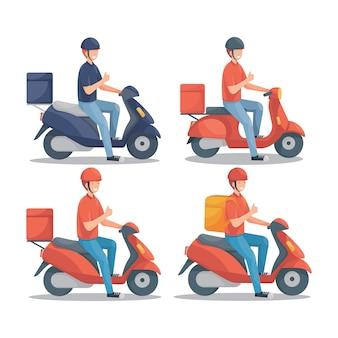 Entregador com scooter definir ilustração