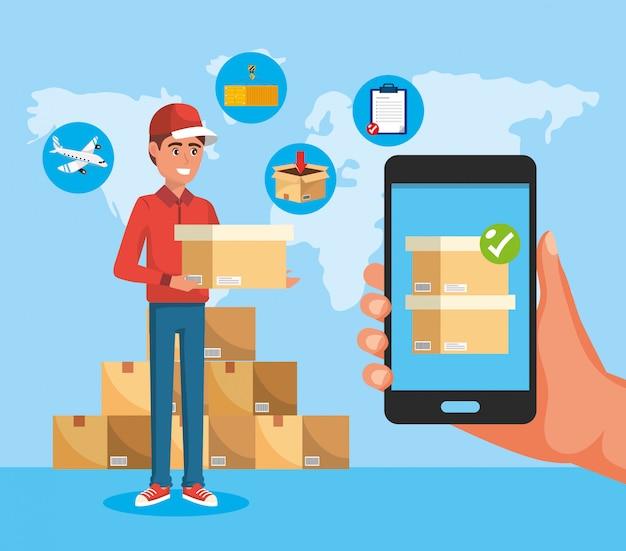 Entregador com serviço de caixas e tecnologia de smartphone na mão