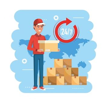 Entregador com serviço de distribuição de pacotes de caixas