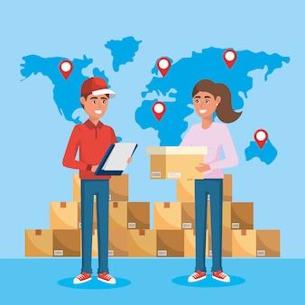Entregador com serviço de lista de verificação e mulher com sua caixa
