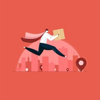 Entregador correndo com caixa de entrega, conceito de serviço de entrega rápida