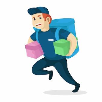 Entregador correndo com segurando embalado e saco. ilustração vetorial