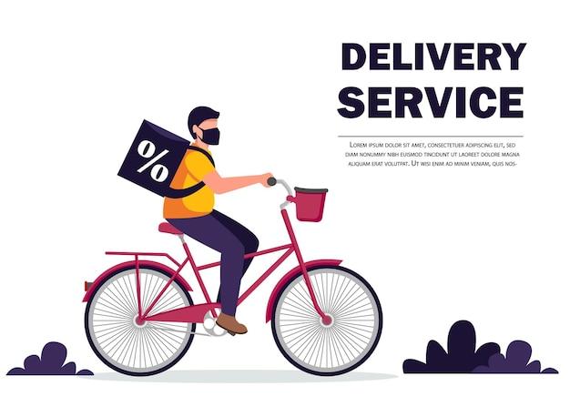 Entregador de bicicletas com caixa de encomendas nas costas.
