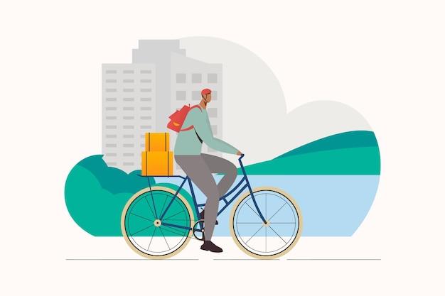 Entregador de comida em ilustração plana de desenho animado de bicicleta