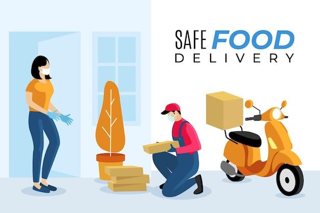 Entregador de comida segura na scooter