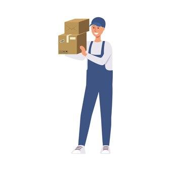Entregador de correio azul uniforme segurando a pilha de caixas de papelão