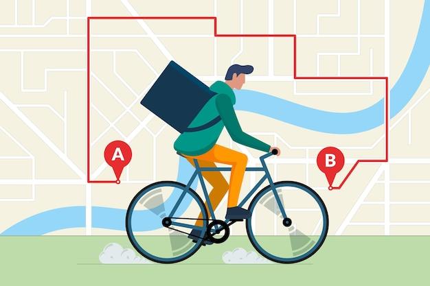 Entregador de correio jovem andando de bicicleta com caixa de produto de pacote serviço de envio expresso de bicicleta