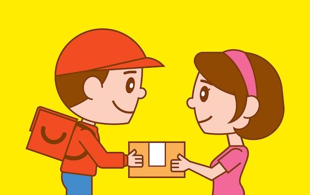 Entregador de desenho animado dando um pacote ao cliente