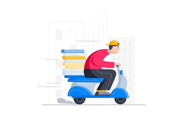 Entregador de pizza apressando-se na scooter