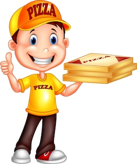 Entregador de pizza dos desenhos animados, dando os polegares