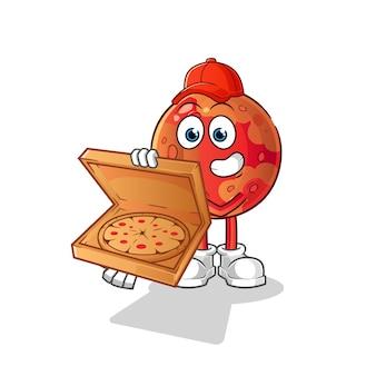 Entregador de pizza em marte. personagem de desenho animado