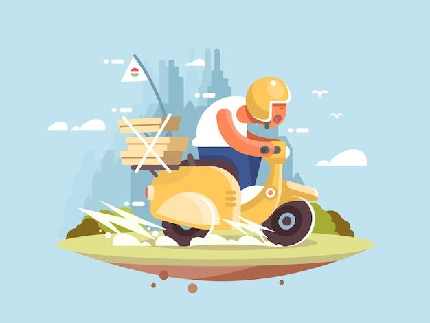 Entregador de pizza em uma scooter dirigindo ilustração vetorial rápida