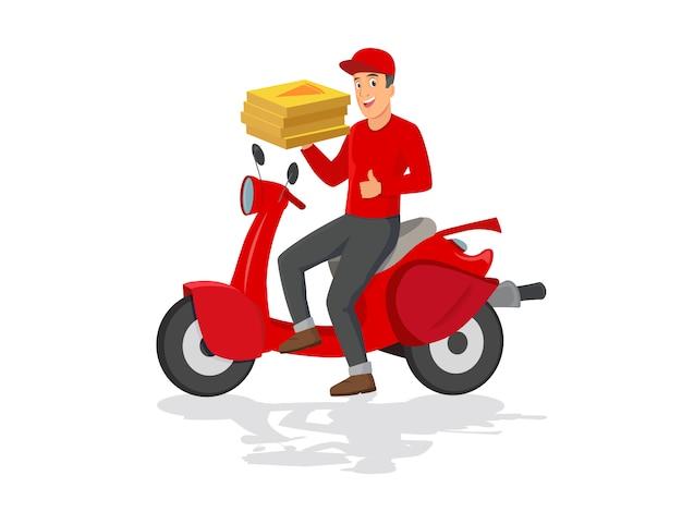 Entregador de pizza engraçado andando de moto vermelho