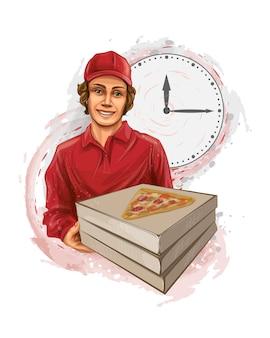 Entregador de pizza segurando uma caixa de papelão com uma pizza de pepperoni dentro. ilustração vetorial realista de tintas