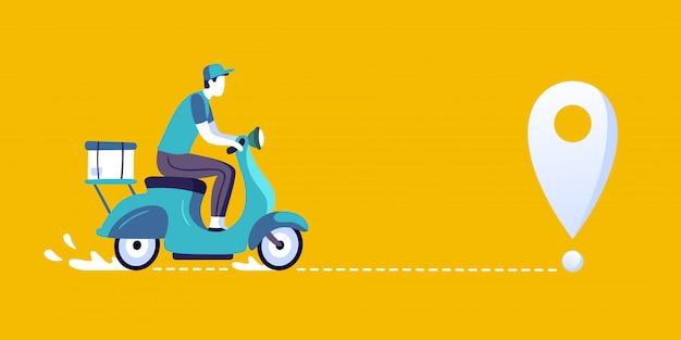 Entregador de scooter. correio de entregas de comida, entregando na bicicleta da cidade e ilustração da rota de entrega