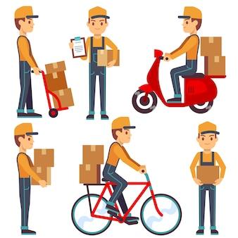 Entregador de serviço com caixas