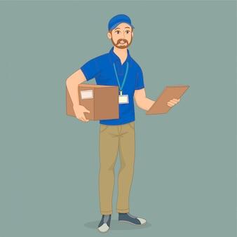 Entregador de serviço com uma caixa nas mãos dele