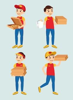 Entregador de serviço de alimentação vestindo uniforme, jeans azul, tshit vermelho e chapéu vermelho