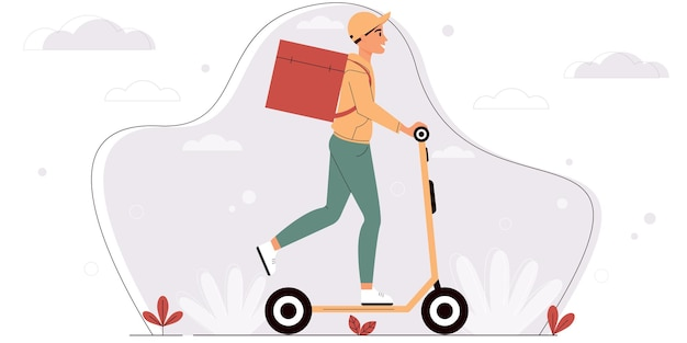 Entregador de uniforme amarelo andando de scooter rastreamento de pedidos on-line e conceito logístico
