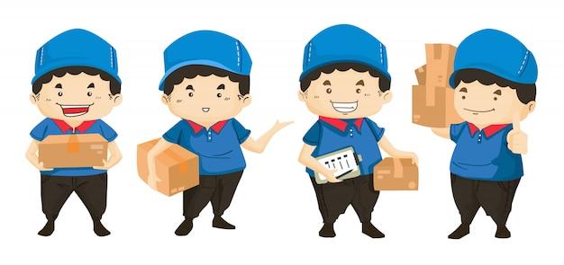 Entregador de uniforme azul, segurando caixas e documentos em poses diferentes