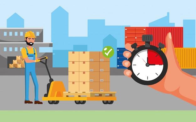 Entregador e carrinhos com caixas e recipientes