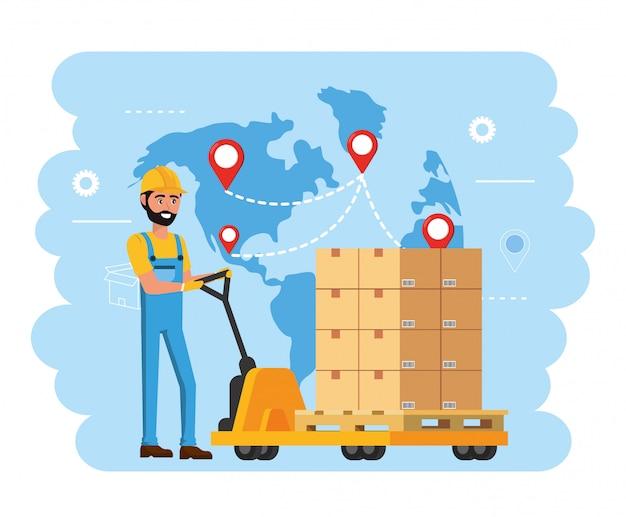 Entregador e carrinhos com serviço de distribuição de pacotes
