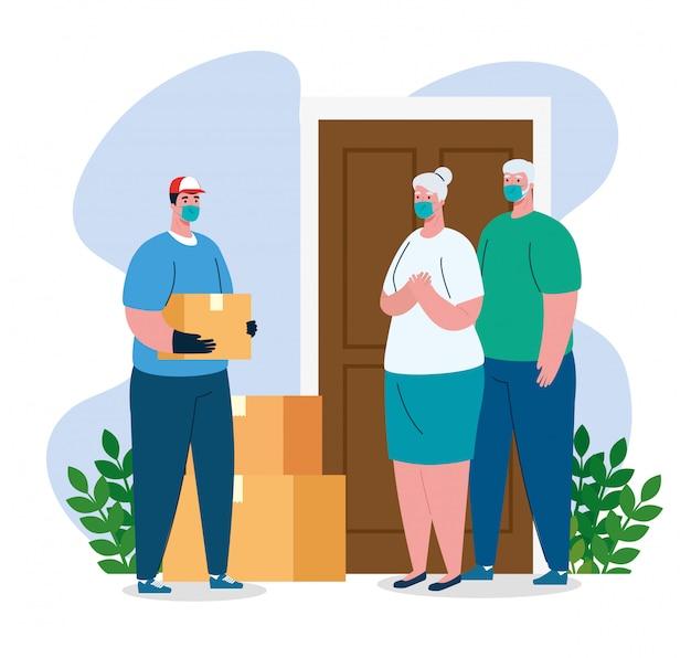 Entregador e clientes idosos com máscaras e caixas