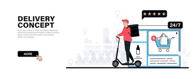Entregador em uma scooter elétrica courier entregando comida
