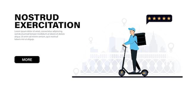 Entregador em uma scooter elétrica courier se move em uma scooter cruzando a ponte entregando comida