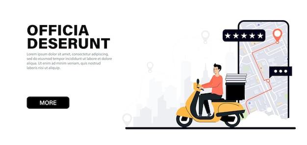 Entregador em uma scooter entrega comida pela cidade serviço de entrega de comida