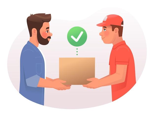 Entregador entrega a caixa do pacote para o cliente courier e cliente