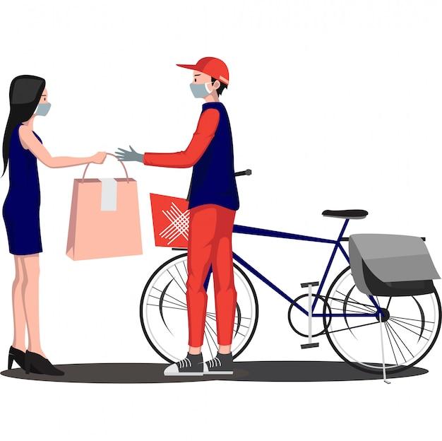 Entregador está entregando pacote para o destinatário usando bicicleta