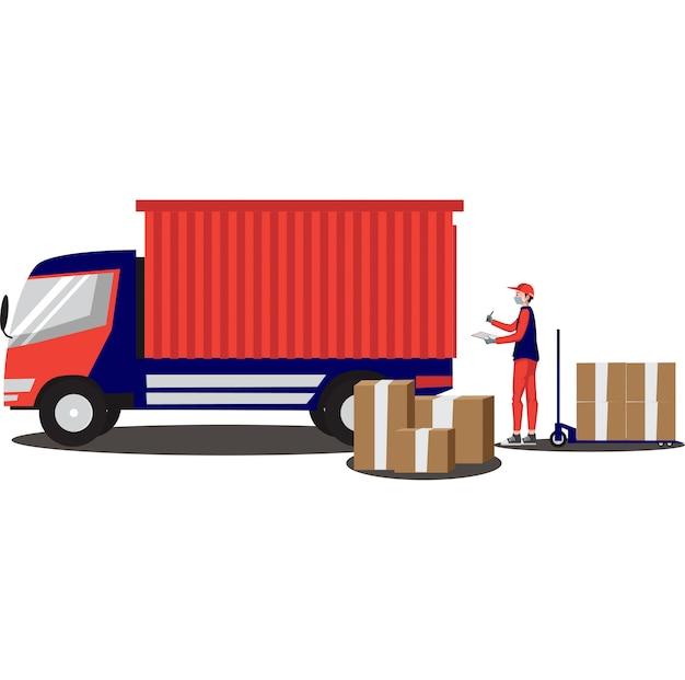 Entregador está entregando pacote usando caminhão
