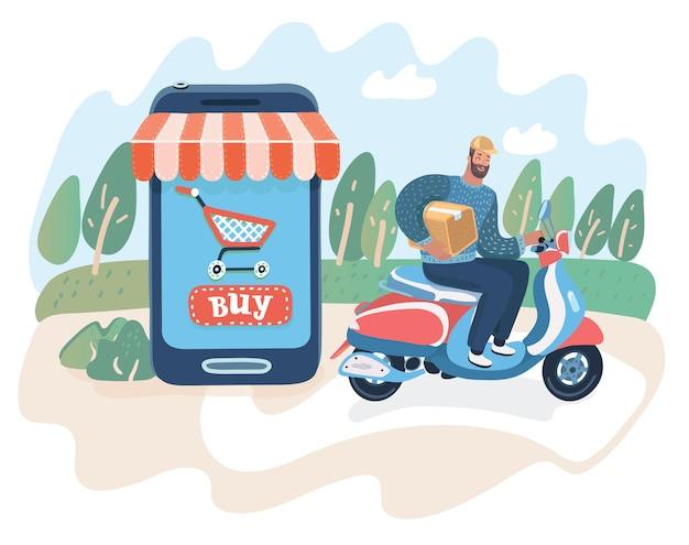 Entregador expresso. entregue as caixas usando uma scooter retro. serviço de entrega. ilustração em vetor cartoon em conceito moderno +