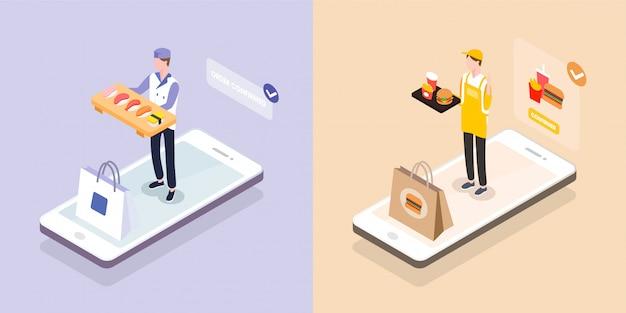 Entregador isométrico com bandeja de comida em smartphone