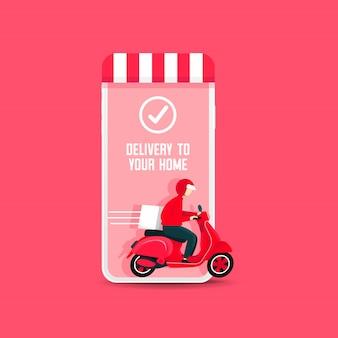 Entregador, montando uma scooter fora do telefone