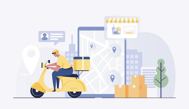 Entregador, motocicleta ou scooter com uma tela de mapa do tablet.