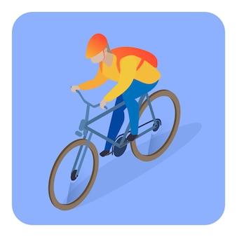 Entregador na ilustração isométrica de bicicleta
