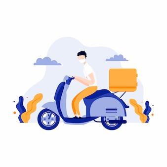 Entregador na motoneta