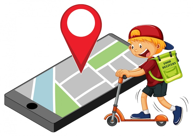 Entregador ou mensageiro andando de scooter com pino na tela do smartphone